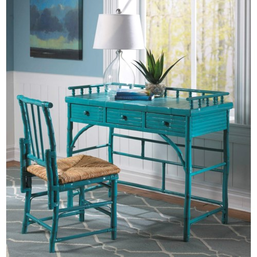 15% OFF -Petite Desk & Chair SetRush SeatFrame Color - Antique Turquoise Item to be Discontinue