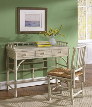 Petite Desk & Chair SetRush SeatFrame Color - Antique White(Originally $410.00)Item to be Disco