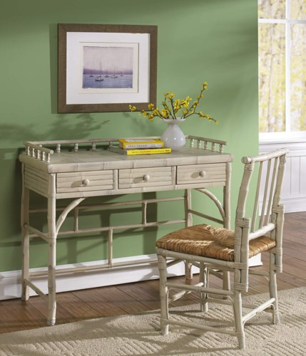 15% OFF -Petite Desk & Chair SetRush SeatFrame Color - Antique WhiteItem to be Discontinued