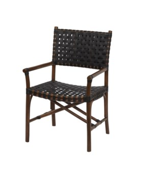 CLOSE-OUT - 15% OFF Malibu Arm Chair Frame Color - Cocoa Leather Color - Black Item to be Disco