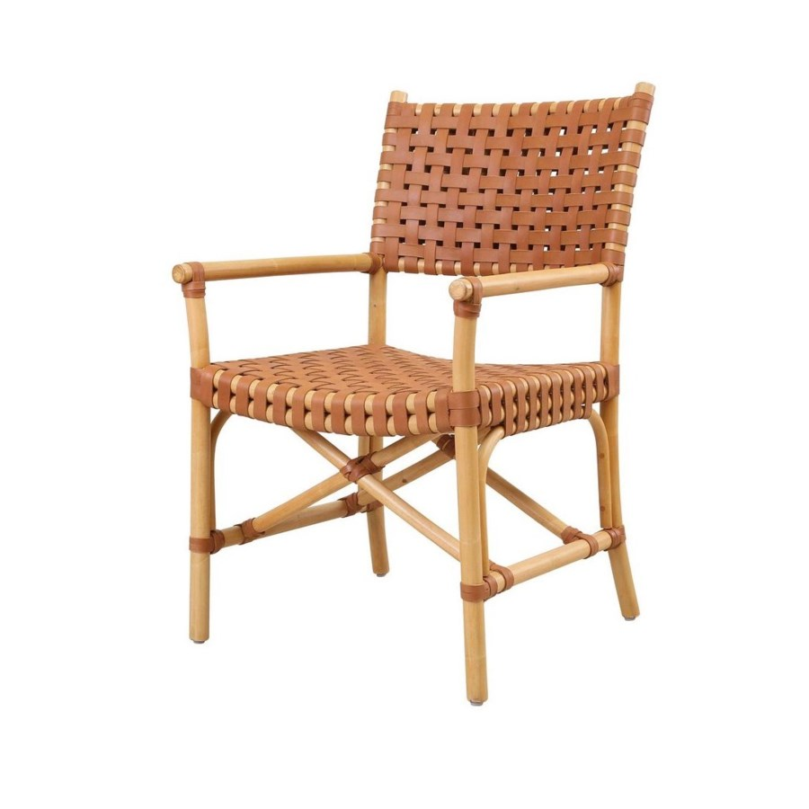 CLOSE-OUT - Buy1Get1 Free! Malibu Arm Chair Frame Color - Natural  Leather Color Brown This It