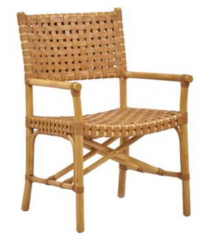 CLOSE-OUT - Buy1Get1 FREE! Malibu Arm Chair Color - Natural/Saddle Item to be discontinued