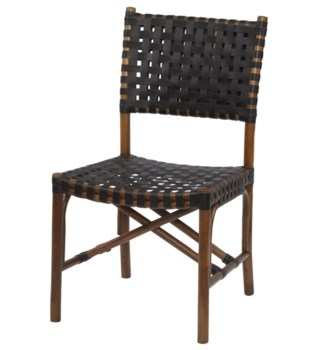 Malibu Side ChairFrame Color - CocoaLeather Color - Black