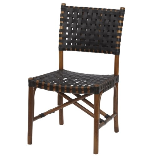 CLOSE-OUT - 50% OFF!Malibu Side Chair Frame Color - Cocoa Leather Color - Black This Item Will