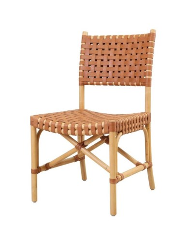 Malibu Side ChairFrame Color - NaturalLeather Color - Brown