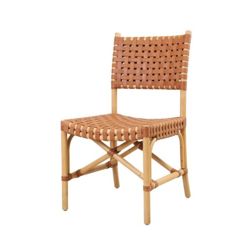 CLOSE-OUT - Buy1Get1 Free! Malibu Side Chair Frame Color - Natural Leather Color - Brown This
