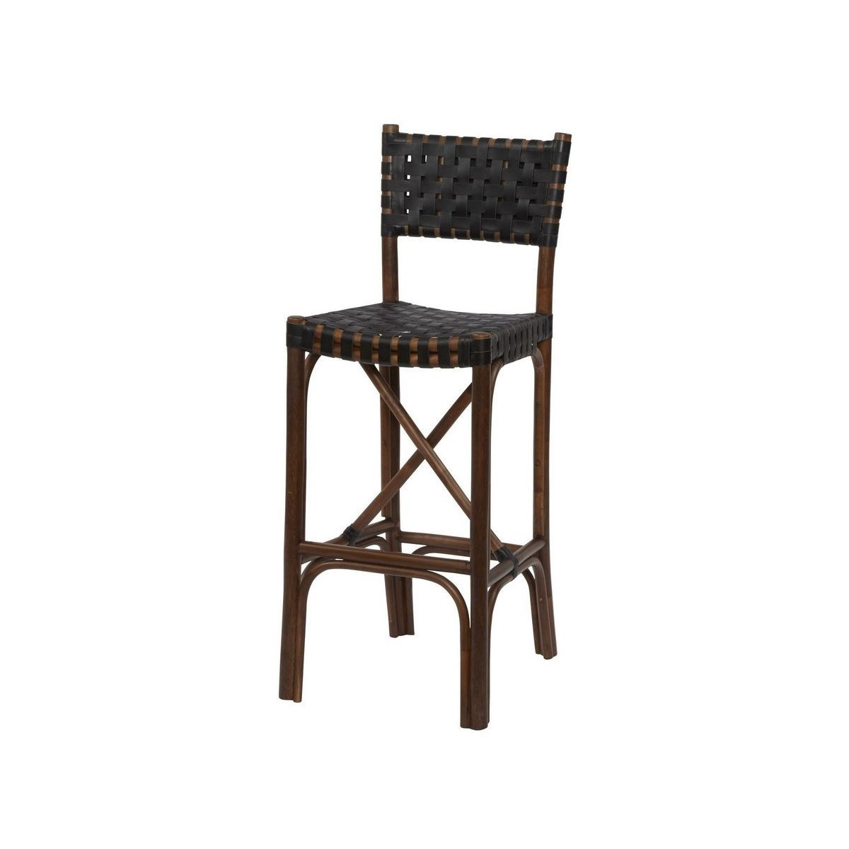 Malibu Bar Chair Frame Color - Cocoa  Leather Color - Black CLOSE-OUT - 50% OFF!SOLD AS-IS  ~