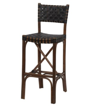CLOSE-OUT - Buy1Get1 FREE! Malibu Bar Chair Frame Color - Cocoa  Leather Color - Black Item to