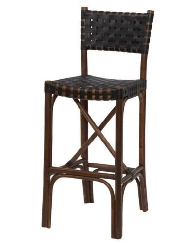 Malibu Bar ChairFrame Color - Cocoa Leather Color - Black