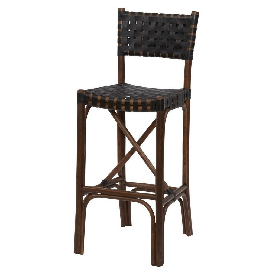 CLOSE-OUT - 50% OFF!Malibu Bar Chair Frame Color - Cocoa  Leather Color - Black Item to be disc