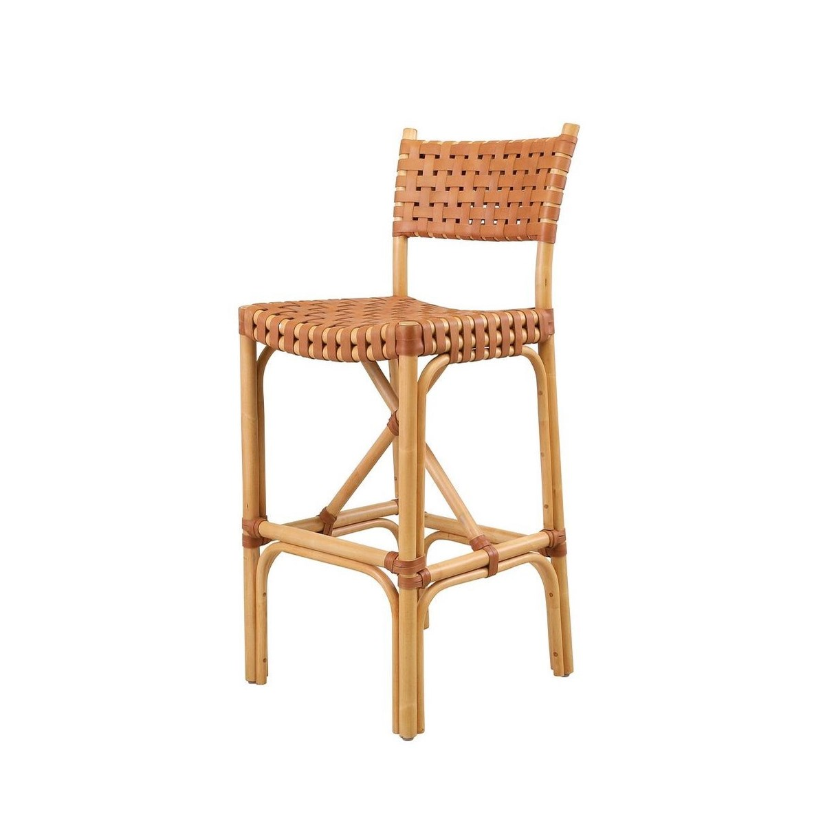 Malibu Bar Chair Frame Color - Natural  Leather Color - Brown CLOSE-OUT - 50% OFF!SOLD AS-IS  ~
