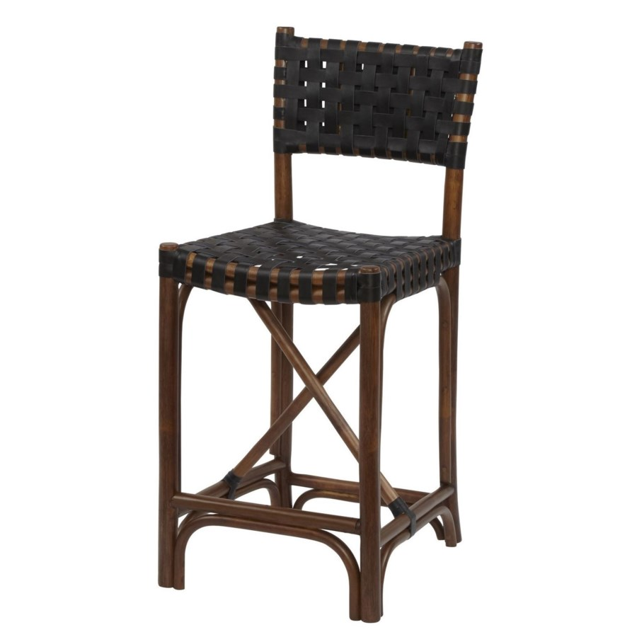 CLOSE-OUT - Buy1Get1 Free! Malibu Counter Chair Frame Color - Cocoa  Leather Color - Black Thi