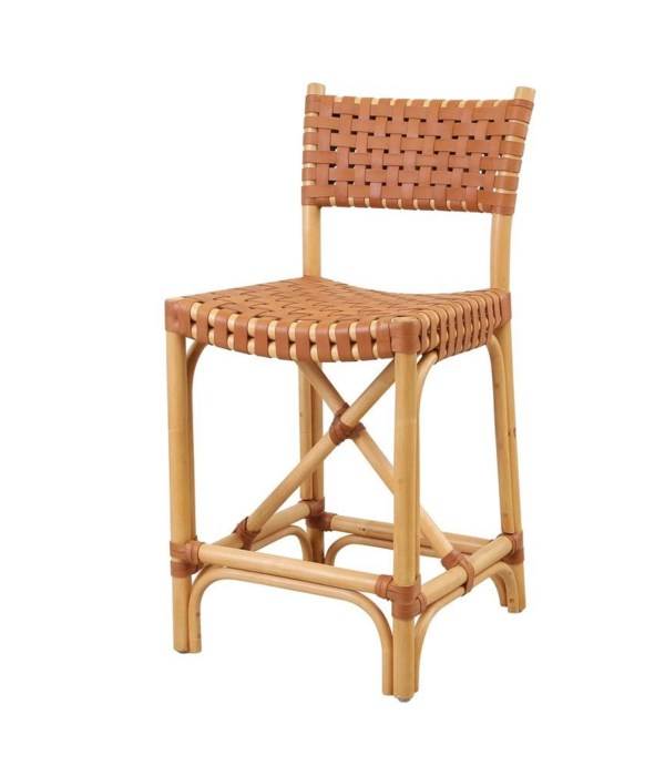 Malibu Counter Chair Frame Color - Natural Leather Color - Brown CLOSE-OUT - 50% OFF!SOLD AS-IS