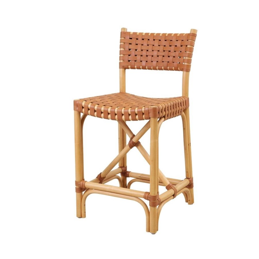 CLOSE-OUT - Buy1Get1 Free! Malibu Counter Chair Frame Color - Natural Leather Color - Brown Th
