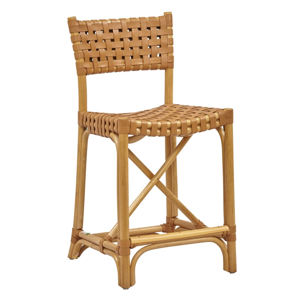 Malibu Counter Chair Frame Color - Natural Leather Color - Saddle CLOSE-OUT - 50% OFF!SOLD AS-I