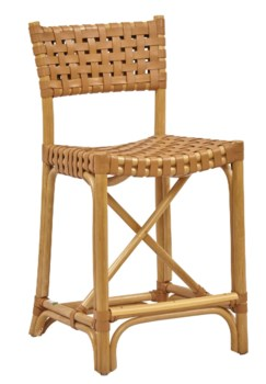 Buy1Get1 FREE! -Malibu Counter ChairColor - Natural/SaddleLeather, Pack 1 ReshipperItem to be d
