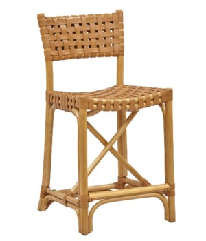 CLOSE-OUT - Buy1Get1 FREE!  Malibu Counter Chair Frame Color - Natural Leather Color - Saddle I