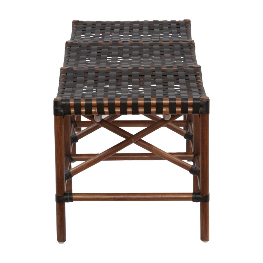 Malibu Bench Frame Color - Cocoa  Leather Color - Black