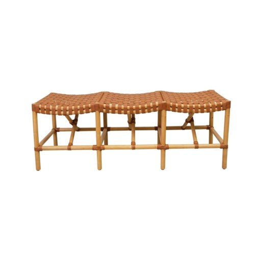 CLOSE-OUT - 50% OFF! Malibu Bench Frame Color - Natural  Leather Color - BrownThis item will be