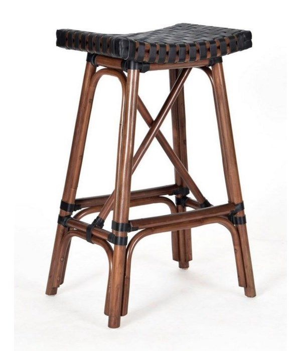 Malibu Counter Stool  Frame Color - Cocoa  Leather Color - Black CLOSE-OUT - 50% OFF!SOLD AS-IS