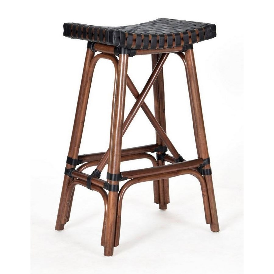 CLOSE-OUT - 25% OFF Malibu Counter Stool  Frame Color - Cocoa  Leather Color - Black Item to be