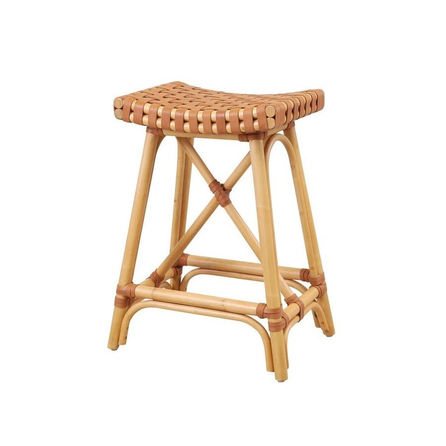 CLOSE-OUT - 25% OFF Malibu Counter Stool Frame Color - Natural  Leather Color - Brown     This