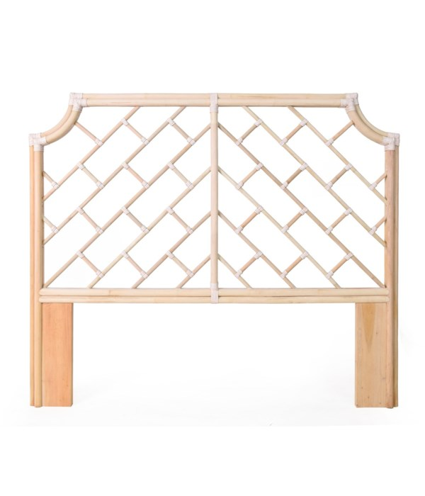 """Palm Beach Chippendale Headboard Queen Frame Unpainted - """"Select Your Color"""" Rattan Frame with Le"""