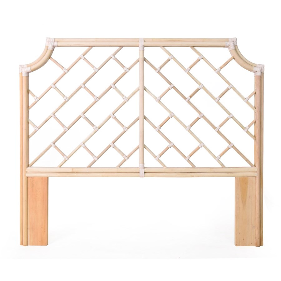 "Palm Beach Chippendale Headboard Queen Frame Unpainted - ""Select Your Color"" Rattan Frame with Le"
