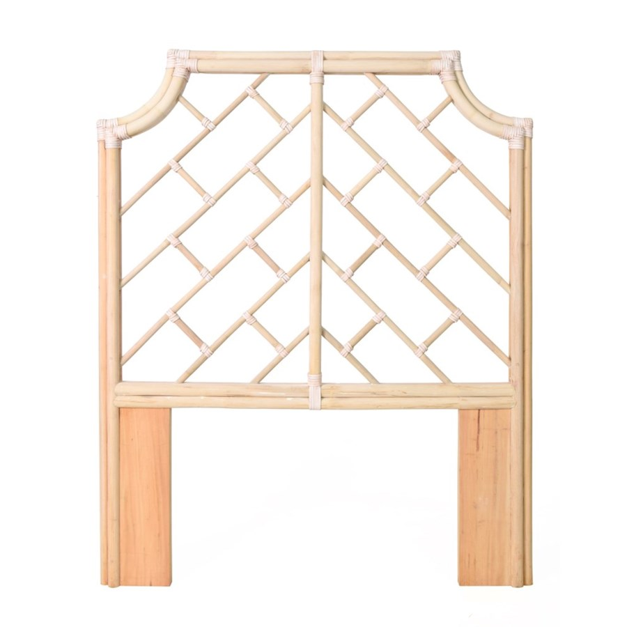"Palm Beach Chippendale Headboard Twin Frame Unpainted - ""Select Your Color"" Rattan Frame with Lea"