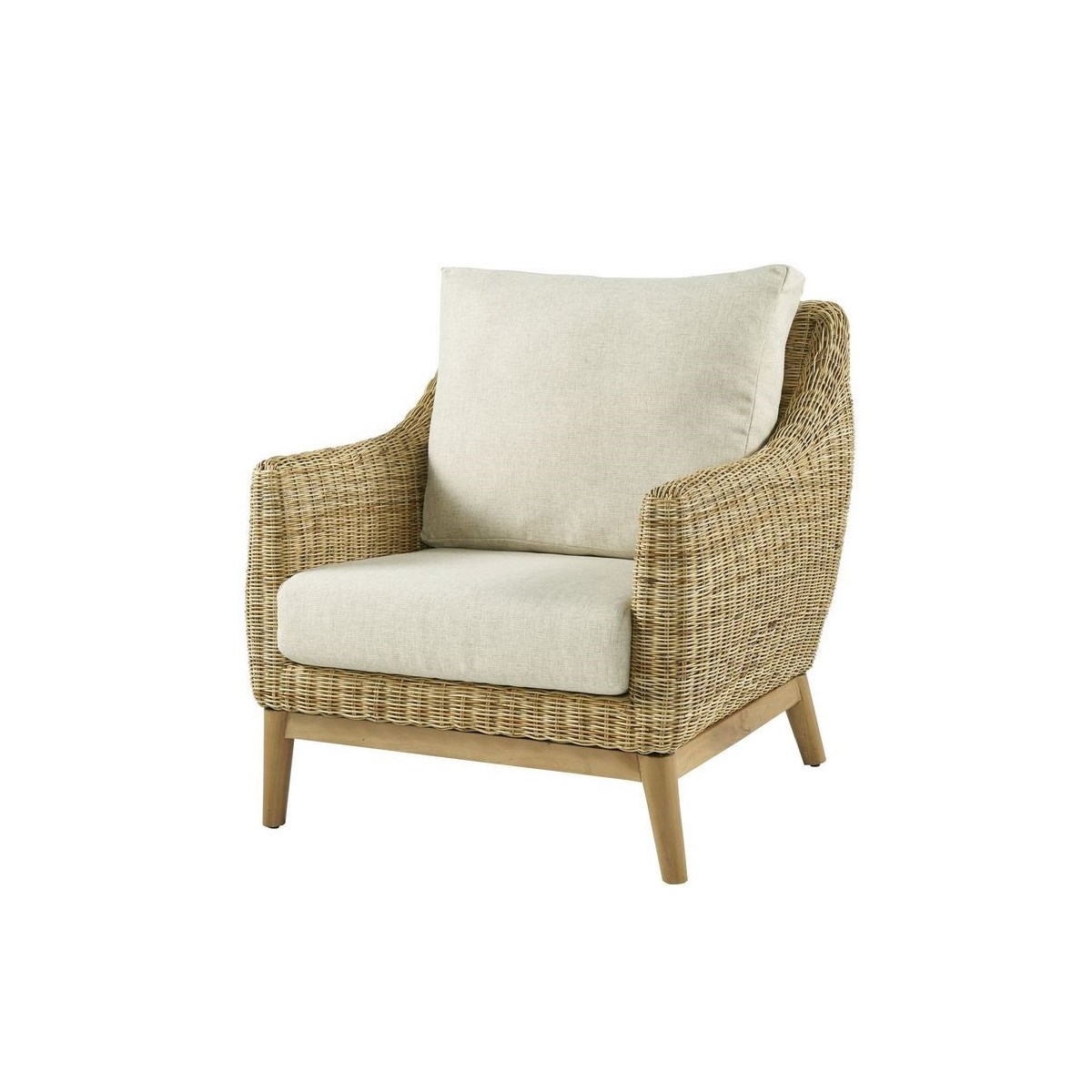 Metropolitan Club Chair Frame Color - Natural Weave Color - Natural  Cushion Color - Cream