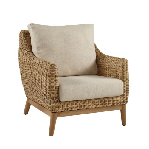 Metropolitan Club ChairFrame Color - Natural Weave Color - Natural Cushion Color - Cream