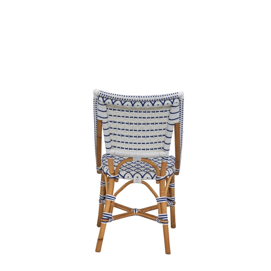 Bistro Chair  Diamond Pattern Weave  Color  - White/Navy  (Sold in Pairs ONLY)
