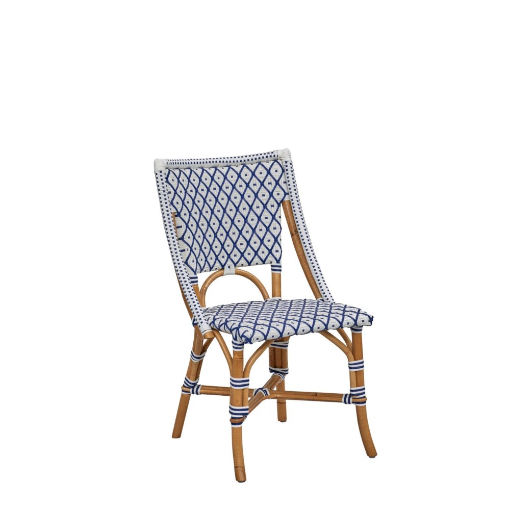 Bistro Chair  Color  - White/Navy  (Diamond Pattern)  (Sold in Pairs ONLY)