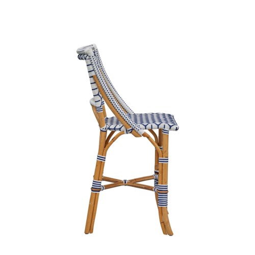 Bistro Counter Chair  Diamond Pattern Weave  Color - White/Navy