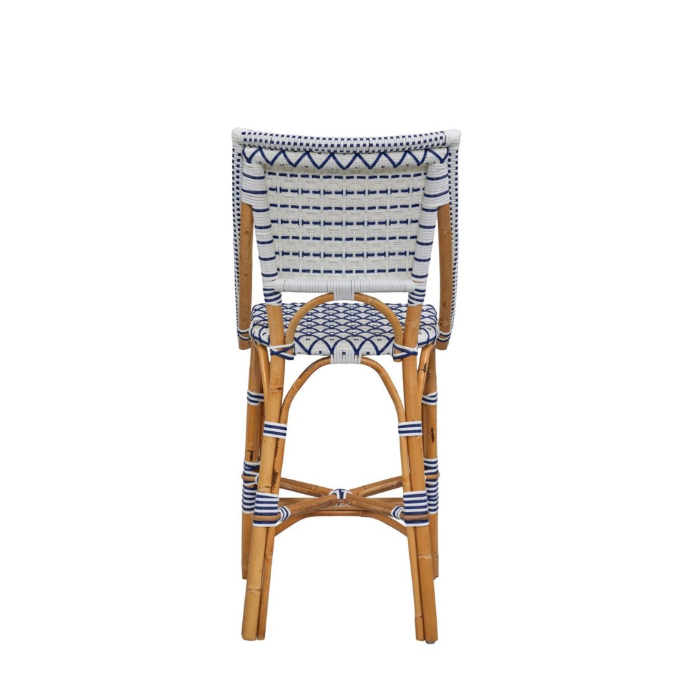 Bistro Counter Chair  Color - White/Navy  (Diamond Pattern)