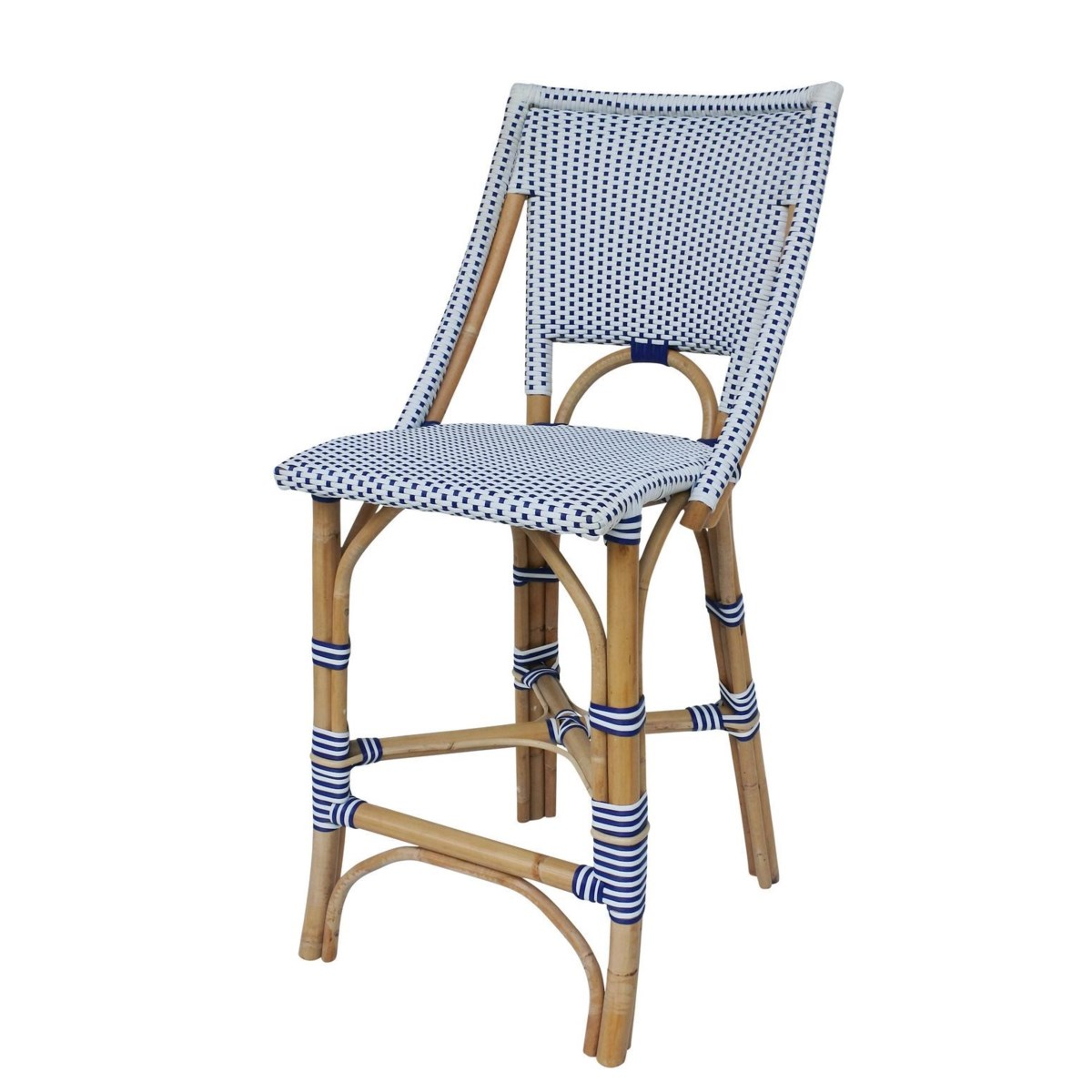 Bistro Counter Chair  Color - White/Navy