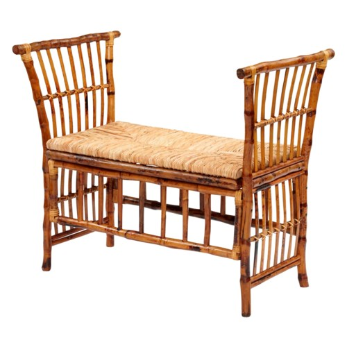 CLOSE-OUT - 25% OFF Cabana Bench Woven Rush Seat Frame Color - Tortoise  Some Assembly Required