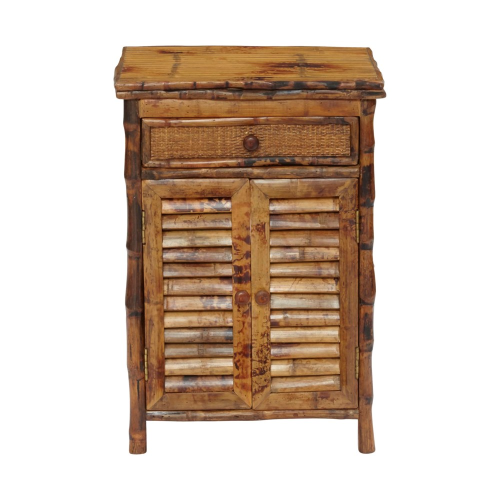 Night Stand Woven Front Drawer Frame Color - Antique Tortoise