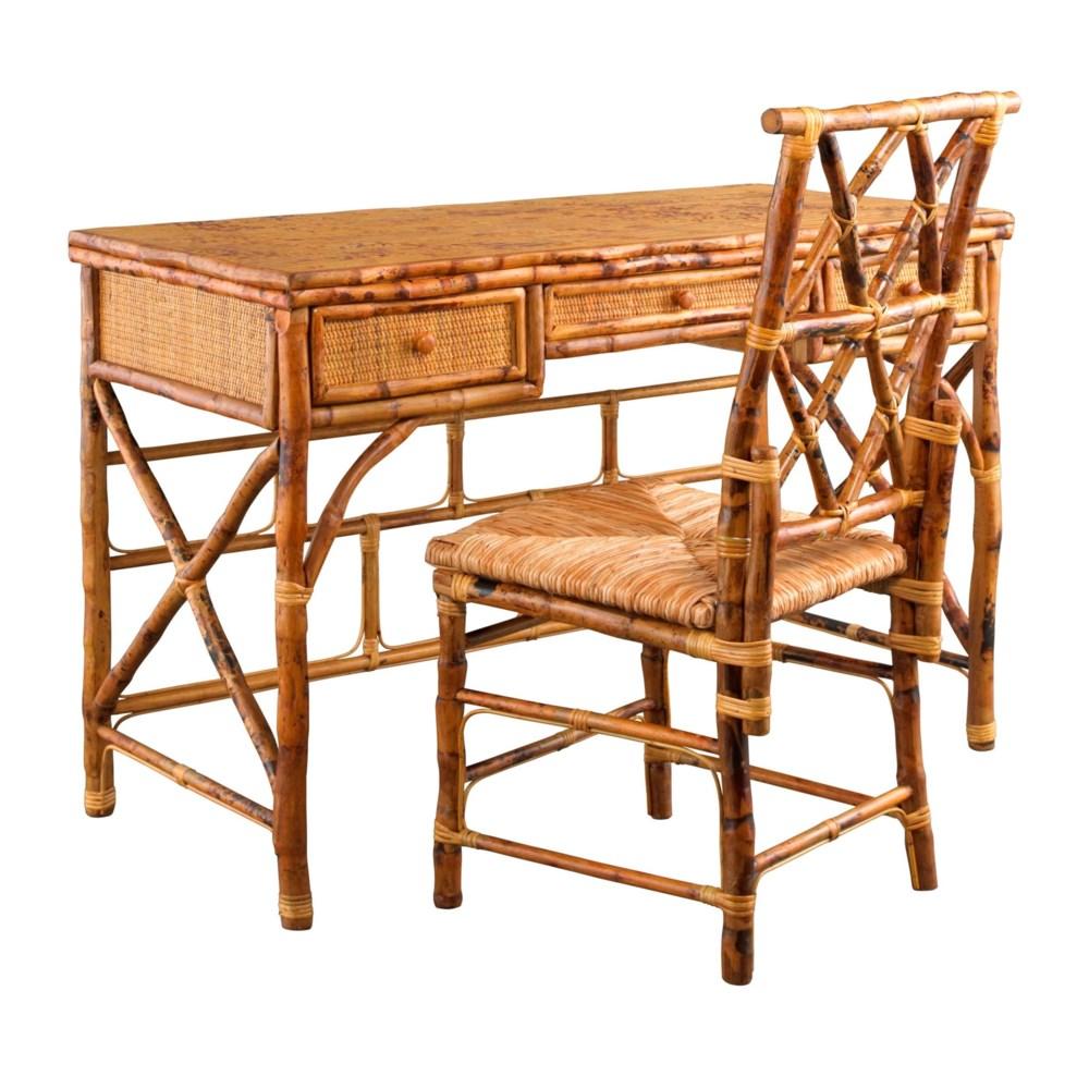 Hampton Desk & Chair Set Rush Seat Frame Color - Tortoise