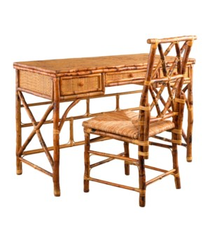 Hampton Desk & Chair SetRush SeatFrame Color - Tortoise