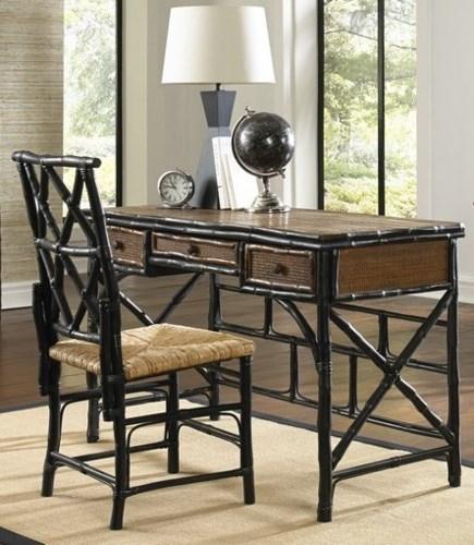 Desk & Chair SetRush SeatFrame Color - Tortoise Black,