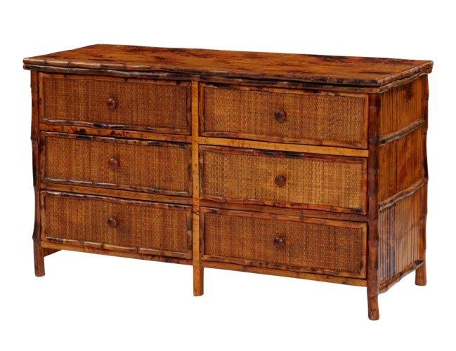 Six Drawer Dresser Woven Front Finish -  Antique Tortoise