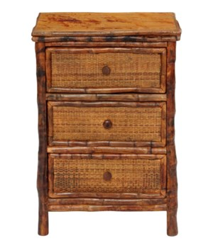 3 Drawer Side Cabinet Woven Front Frame Color - Antique Tortoise