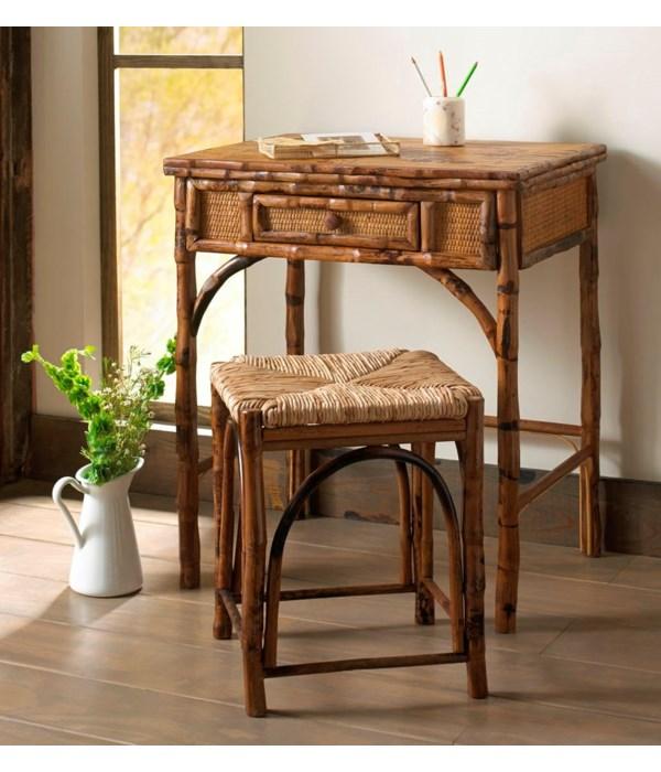 Writing Desk w/Stool Tortoise, Rush Seat Pack 1