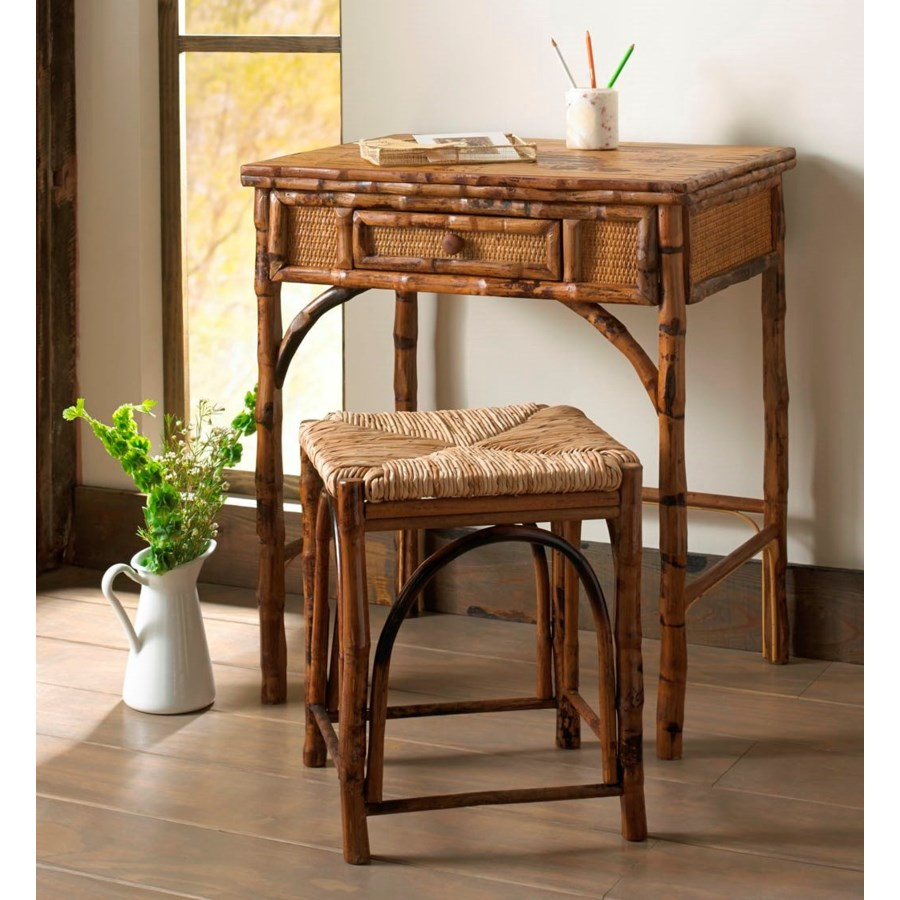 Writing Desk w/Stool Tortoise, Rush Seat Pack 1