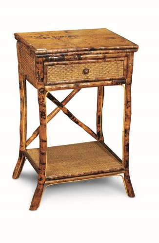 English Side TableWoven Drawer and ShelfFrame Color - Antique Tortoise