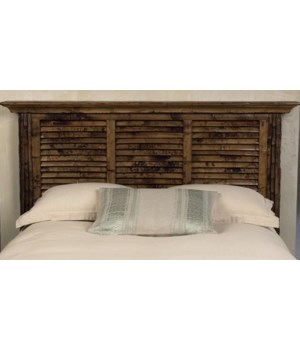 Buy1Get1 FREE! - Louvered King Headboard Color - Antique Tortoise Some Assembly Required - Crown