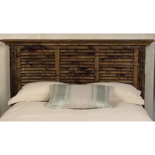 CLOSE-OUT - Buy1Get1 FREE! Louvered King Headboard Color - Antique Tortoise Some Assembly Require