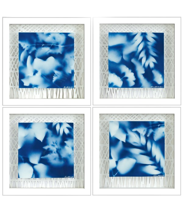 SET OF 4 GENTLE LEAVES w/MULBERRY PAPER