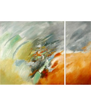SWEPT AWAY (hand painted multi-original) each piece, set of 2 only